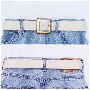 EXP Jeans VTG Cream Leather Gold Buckle Square EUC